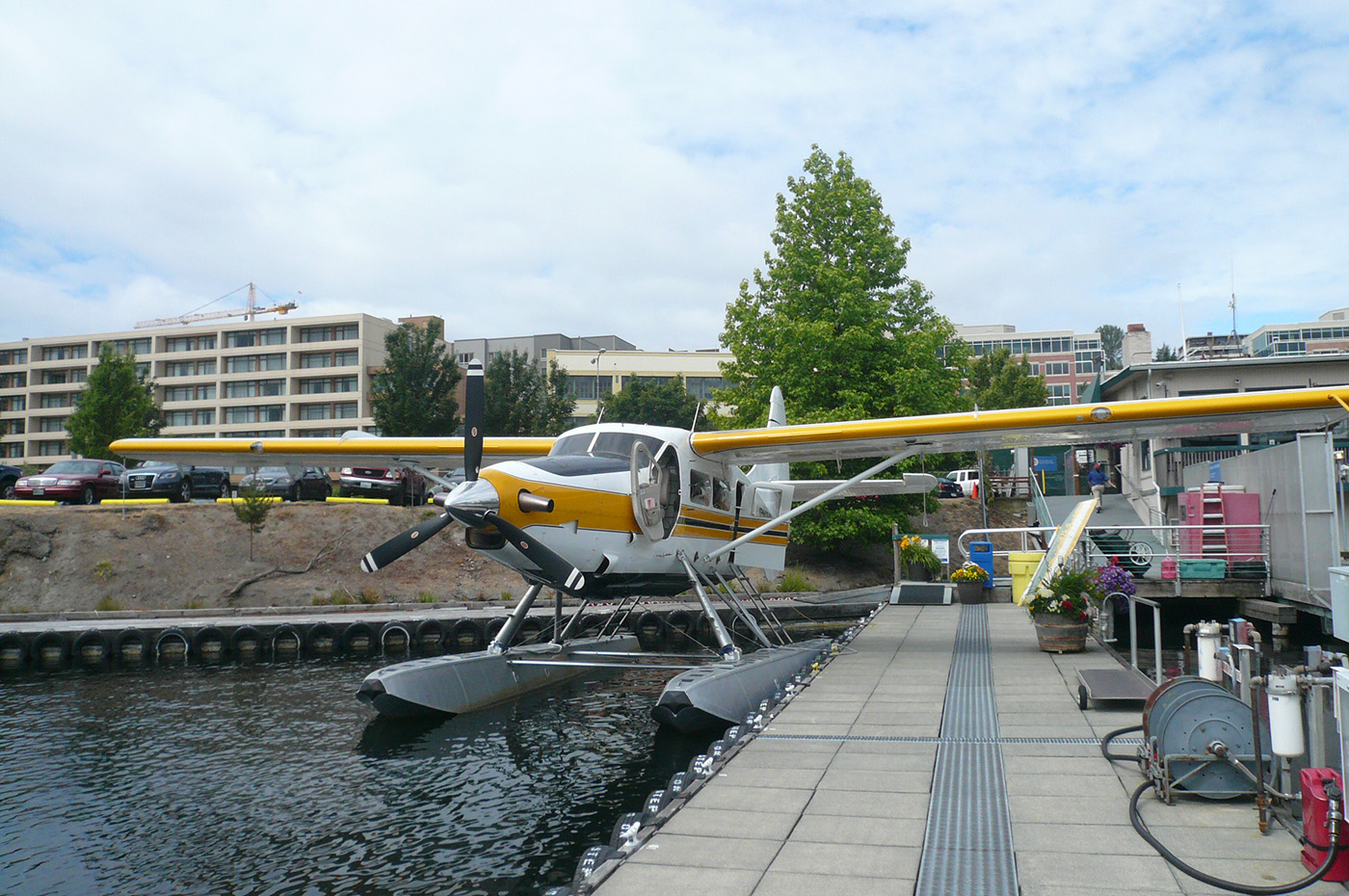 Here's the seaplane at the dock at Lake Union.